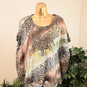 INVESTMENTS poncho style blouse